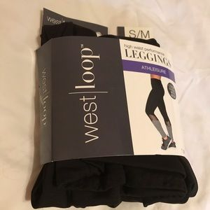 High waisted black and gray leggings with mesh